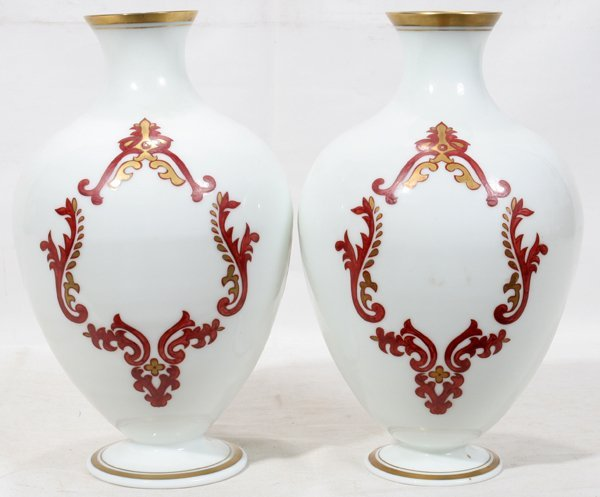 """041008: FRENCH EMPIRE """"SIMOES"""" OPALINE GLASS VASES,"""