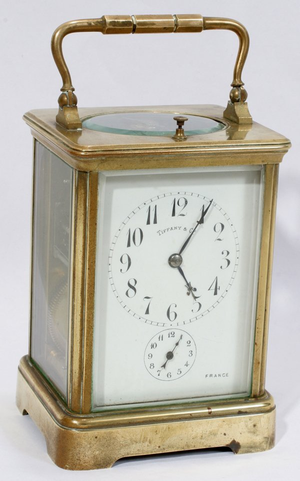 041016: FRENCH BRASS CARRIAGE CLOCK FOR TIFFANY & CO.,