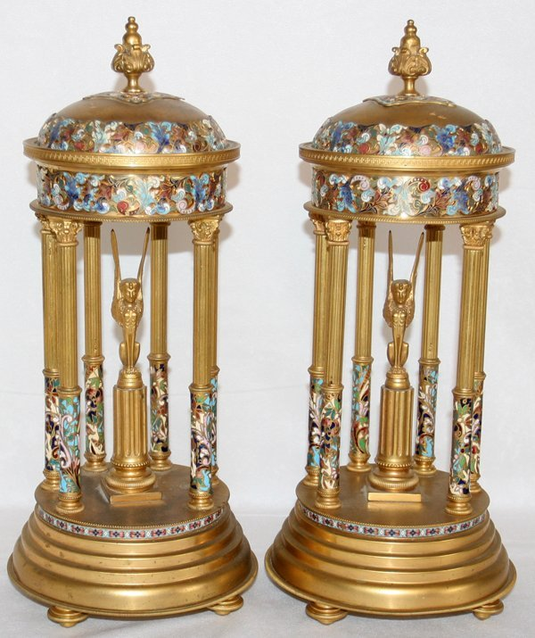041017: FRENCH CHAMPLEVÉ & BRASS TEMPLE-FORM GARNITURES