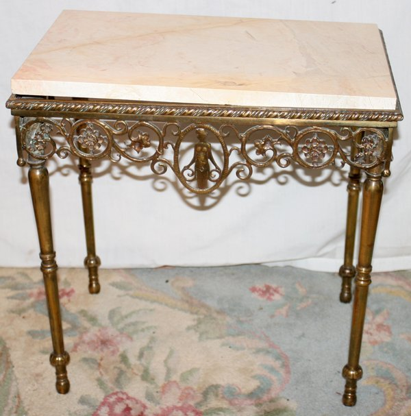 041020: FRENCH BRONZE & MARBLE TOP TABLE, ANTIQUE, H 19