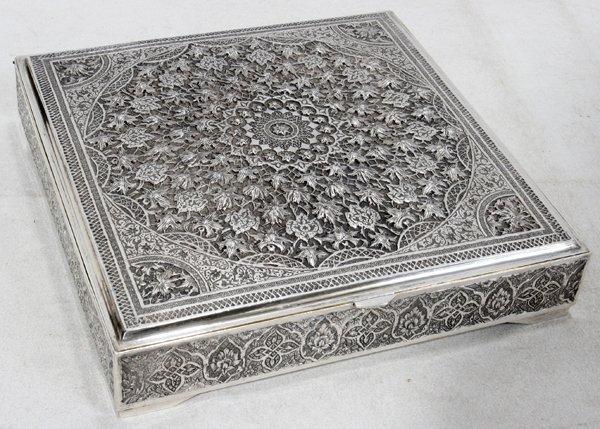 "041269: PERSIAN/IRAN SILVER BOX BY 'VARTAN' W 7"" SQUARE"