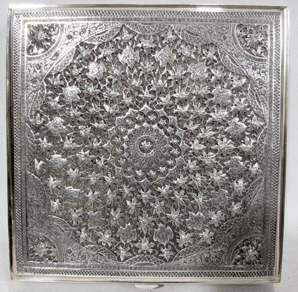 "041269: PERSIAN/IRAN SILVER BOX BY 'VARTAN' W 7"" SQUARE - 2"