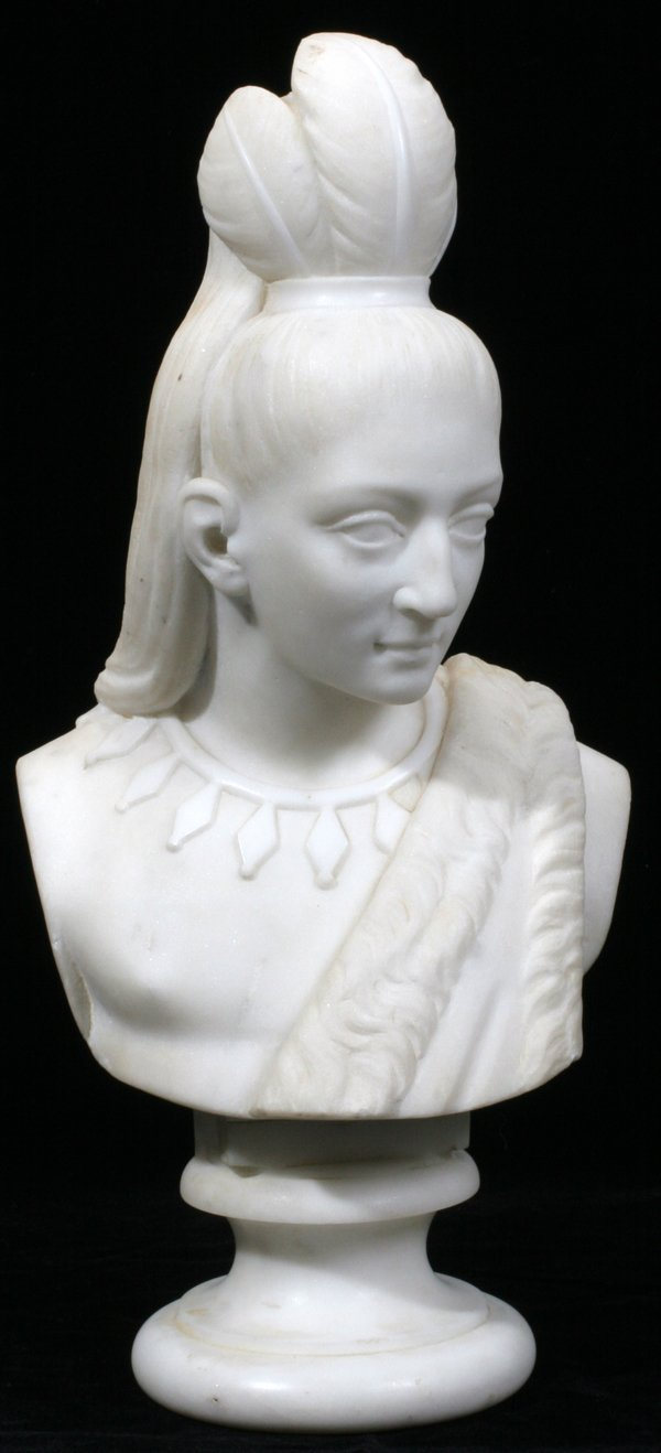 042022: ATT TO EDMONIA LEWIS CARVED WHITE MARBLE BUST