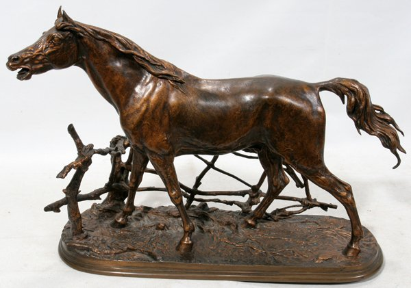 "042023: P.J. MENE, BRONZE SCULPTURE, ""HORSE WITH FENCE"""