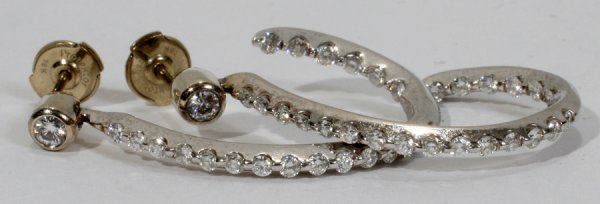 050009: 14KT WHITE GOLD & DIAMOND DROP HOOP EARRINGS