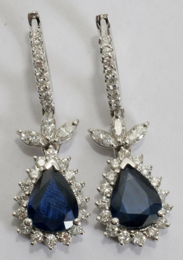 050010: SAPPHIRE & SIDE DIAMOND PEAR SHAPED EARRINGS