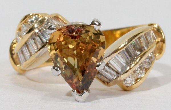 050013: NATURAL HONEY CANARY SAPPHIRE & DIAMOND RING