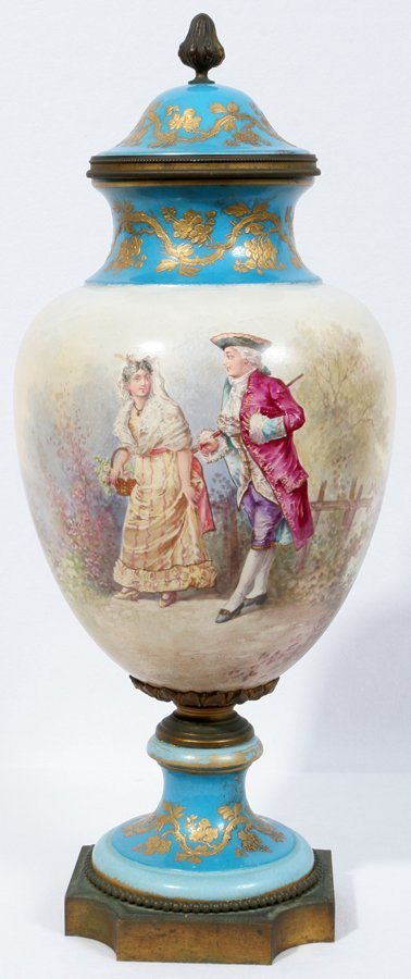 050017: SEVRES STYLE PORCELAIN COVERED URN, CA.19TH C.