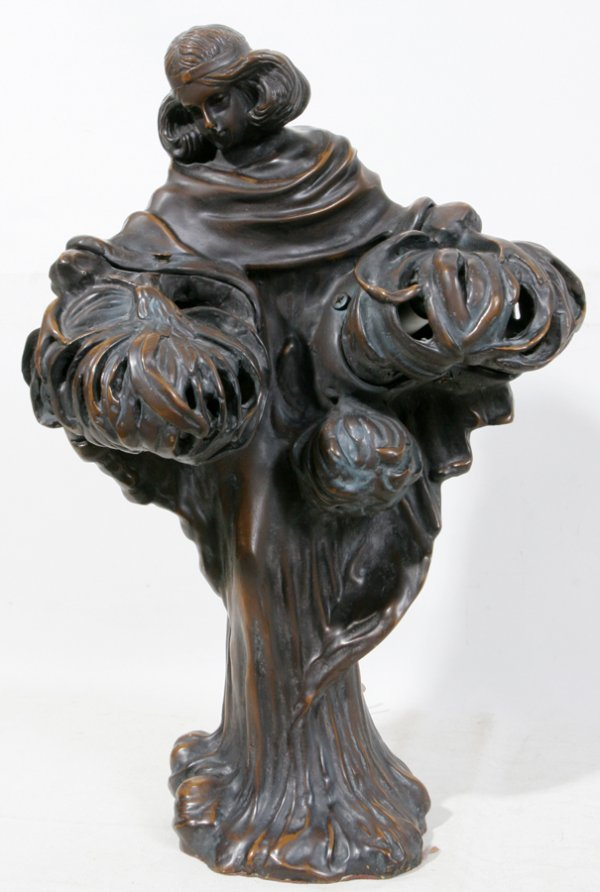 050019: BRONZE FIGURAL LAMP OF GIRL CARRYING HARVEST