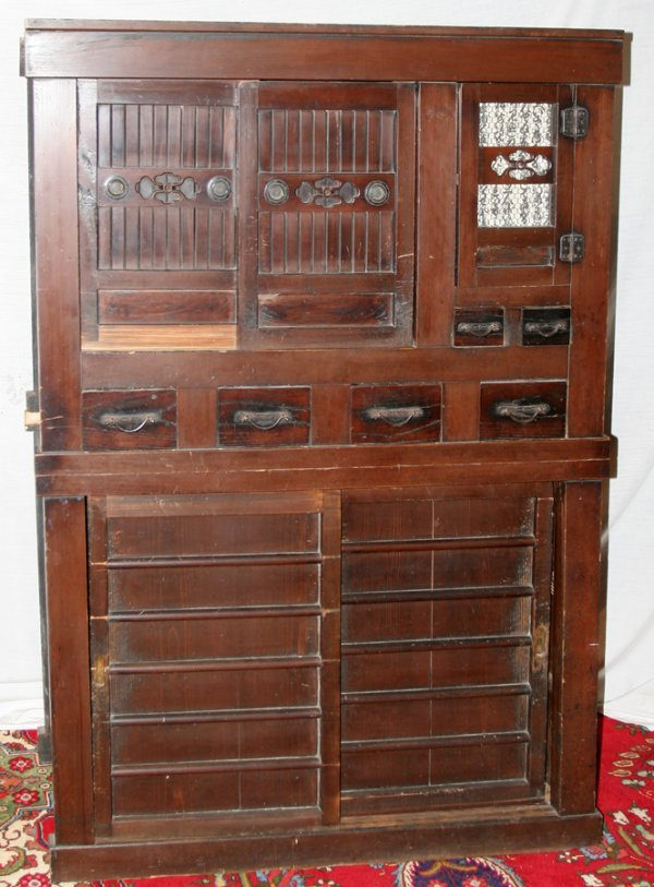 050025: JAPANESE STAINED WOOD CABINET, ANTIQUE, H 67""