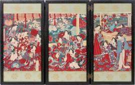 051165 JAPANESE WOODBLOCK THREEPANEL SCREEN H 20