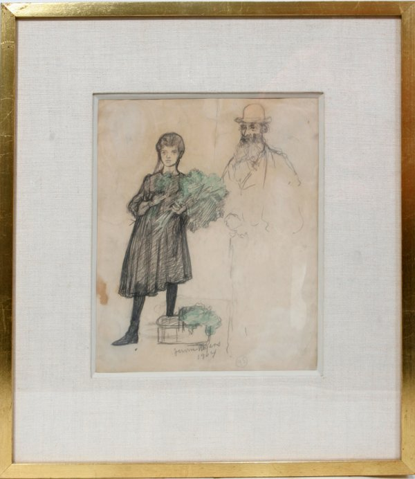 052007: JEROME MYERS, PENCIL AND CRAYON SKETCH, 1904,
