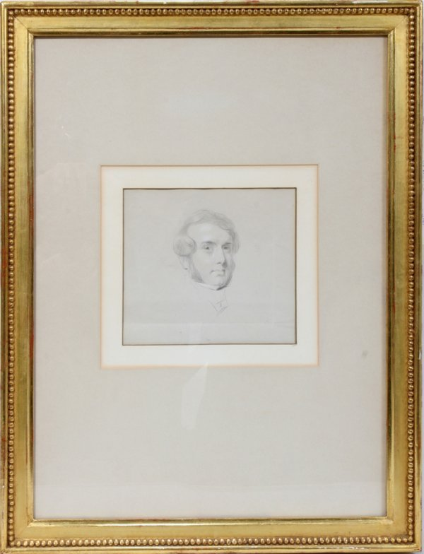 "052008: THOMAS SULLY PENCIL 6"" X 10"", BUST OF MAN:"