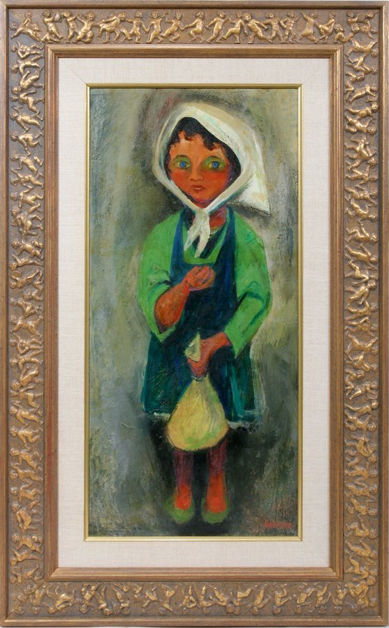 "052013: WILLIAM GROPPER, OIL ON CANVAS, 30"" X 19"", GIRL"