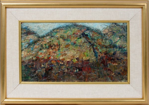 "052015: ERNEST LAWSON, OIL ON BOARD, 7"" X 13"", HILLTOP"