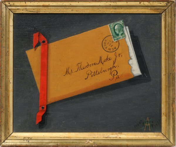 052016: A.G. MOKE, TROMPE L'OEIL OIL ON PANEL, 1871, 7""