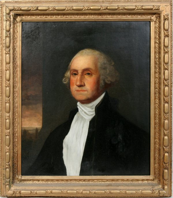 052020: AMERICAN OIL ON CANVAS, EARLY 19TH CENTURY, 30""