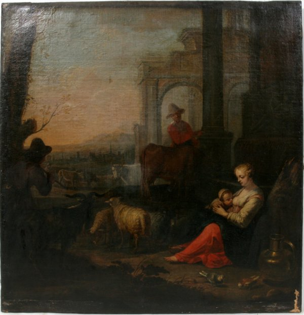 "052022: OLD MASTER OIL ON CANVAS, 17TH/18TH C., 25"" X"