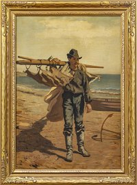 JOHN GEORGE BROWN, OIL ON CANVAS, LOBSTERMAN