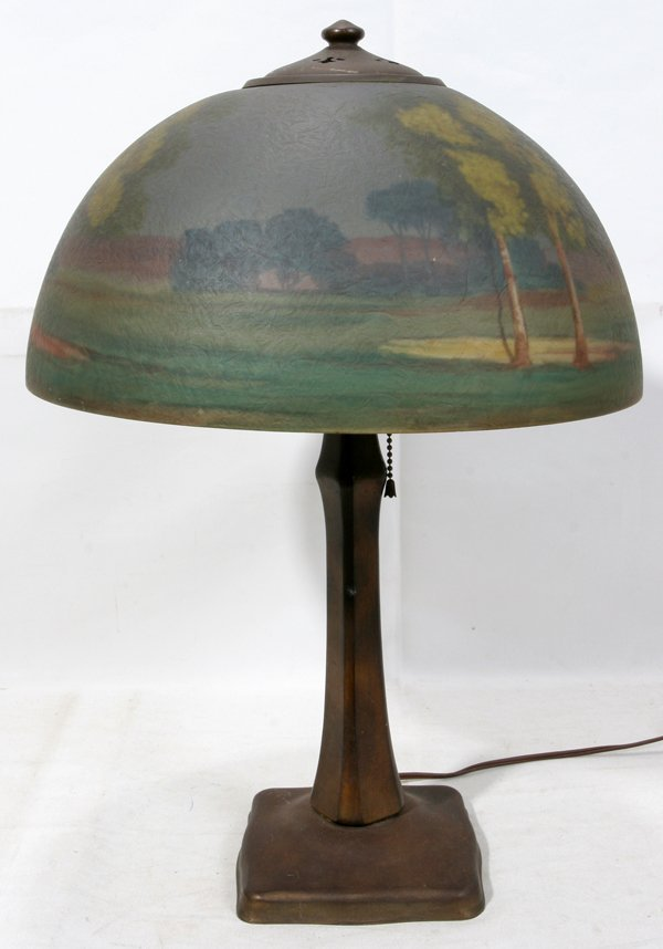 060002: HANDEL REVERSE PAINTED TABLE LAMP, EARLY 20TH C