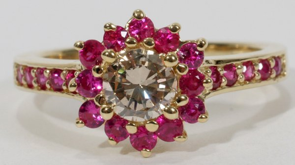 060009: NATURAL .50 CT. CHAMPAGNE DIAMOND & RUBY RING
