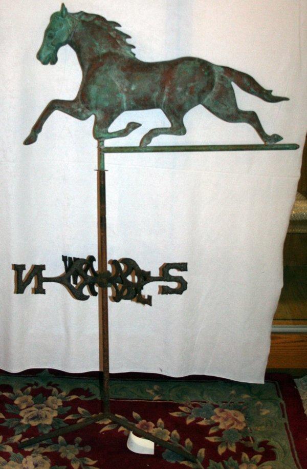 060018: HORSE WEATHERVANE COPPER & CAST IRON 19TH C,