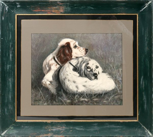"""060020: HOWES PASTEL TWO HUNTING DOGS, 17"""" X 21"""""""