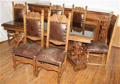 061041: CARVED WALNUT DINING SET, LATER 20TH C., 8 PCS