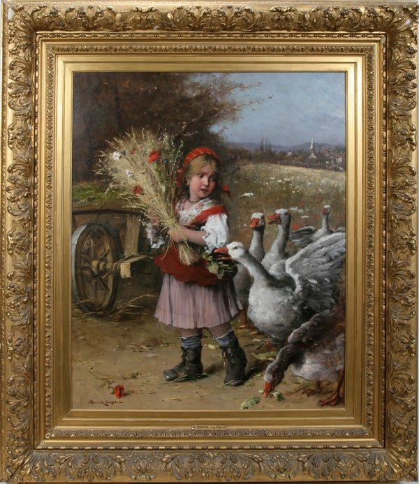 062018: LAJOS BRUCK, OIL ON CANVAS, GIRL WITH GEESE,