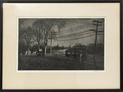 MARTIN LEWIS, DRYPOINT, WET NIGHT, ROUTE 6
