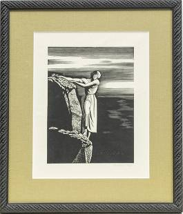 ROCKWELL KENT WOODCUT ON WOVE PAPER, GIRL ON CLIFF