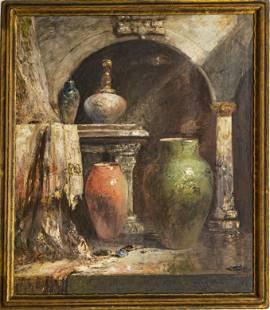 DOUGLAS ARTHUR TEED, VASES IN A MOORISH INTERIOR