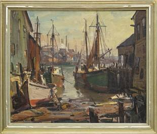 EMILE ALBERT GRUPPE, FISHING BOATS AT THE HARBOR