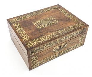 FRENCH ROSEWOOD & BRONZE INLAY JEWELRY BOX