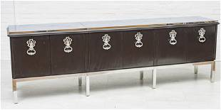 STYLE OF TOMMI PARZINGER, BLACK LACQUER CREDENZA