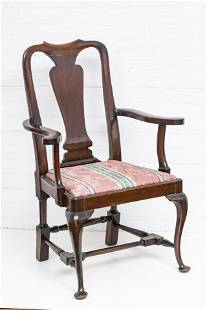 ANTIQUE CARVED MAHOGANY ARM CHAIR