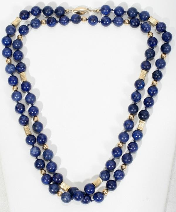 070010: LAPIS LAZULI BEAD NECKLACE, 14 KT GOLD SPACERS