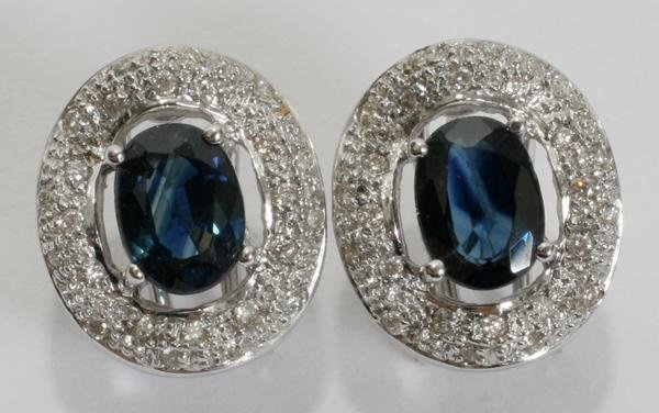 070011: 14KT WHITE GOLD, DIAMOND AND SAPPHIRE EARRINGS