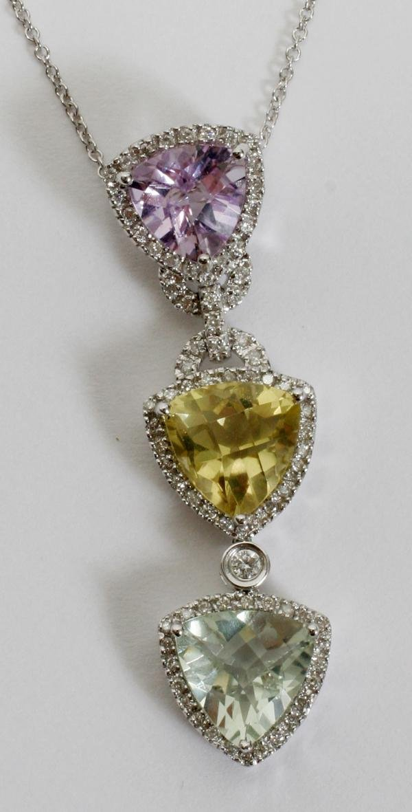 070012: 14KT WHITE GOLD, DIAMOND NECKLACE WITH CITRINE