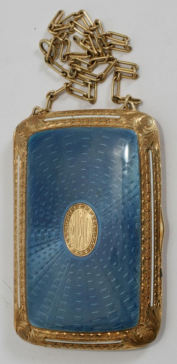 071004: 14KT GOLD & ENAMEL LADY'S CIGARETTE CASE C.1920