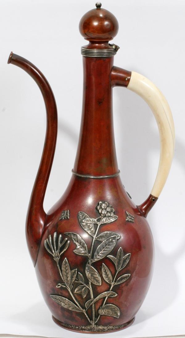 "071009: GORHAM COPPER & SILVER COFFEE POT, 1889, H 13"""