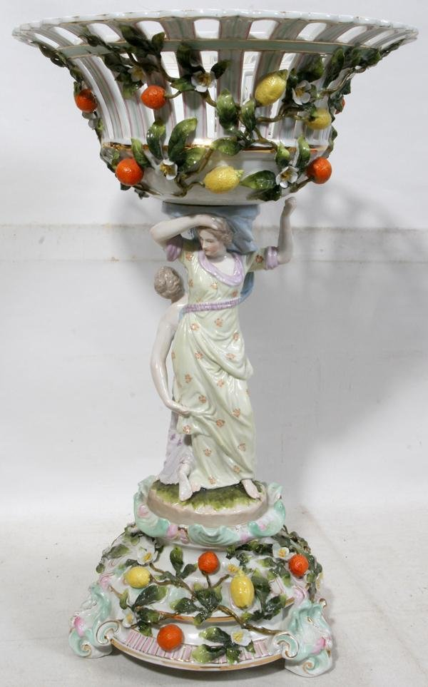 """071012: DRESDEN PORCELAIN COMPOTE, 19TH C., H 19"""","""