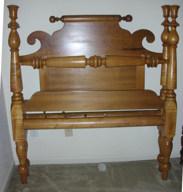 """071022: AMERICAN ANTIQUE MAPLE BED, 19TH C., H 57"""","""
