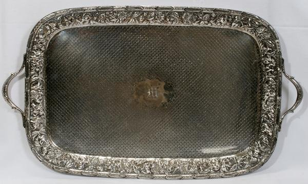"072002: S.KIRK & SON STERLING TRAY L 27 1/2"" TO HANDLES"