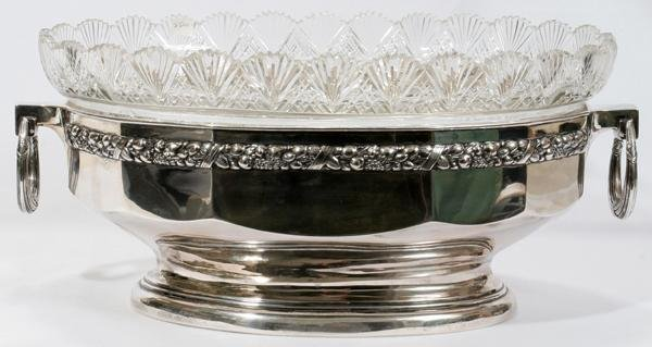 "072004: GERMAN .800 SILVER & CUT CRYSTAL BOWL, H 8"","