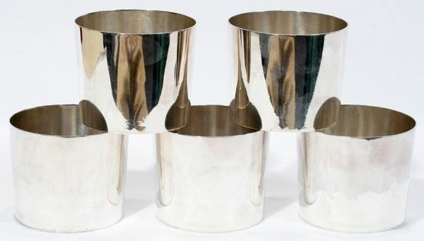 "072008: TIFFANY & CO. STERLING CUPS 5, H 2 1/2"", DIA 3"""