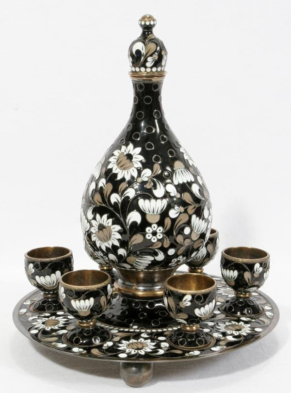 072015: RUSSIAN CLOISONNÉ & .916 SILVER VODKA SET 8 PCS