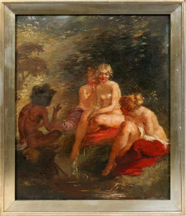 072018: LUDWIG BANG OIL ON CANVAS, FEMALE NUDES W/SATYR