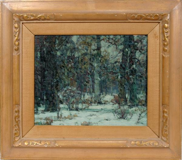 072020: JOHN F. CARLSON, OIL ON BOARD, WINTER FOREST