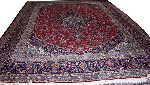 "050002: KASHAN PERSIAN WOOL CARPET 9' 10"" X 14'"